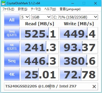 Image: CrystalDiskMark ベンチ BitLocker ドライブ暗号化後