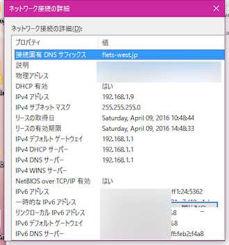 Image: Windows 10 Build 14316.1010 ネットワーク接続の詳細 ダイアログ