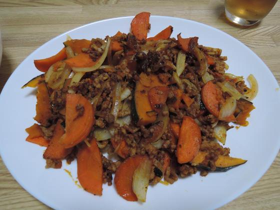 Image: 141002 かぼちゃとひき肉のうま炒め 生姜風味