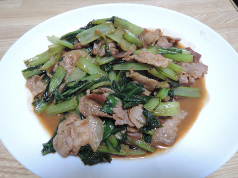 Image: 141005 小松菜と豚バラ肉のごま味噌マヨ炒め