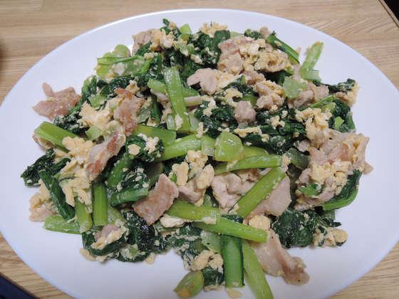 Image: 141018 小松菜と豚肉の中華卵とじ