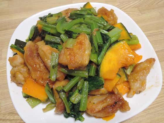 Image: カボチャと豚肉と小松菜の甘辛炒め