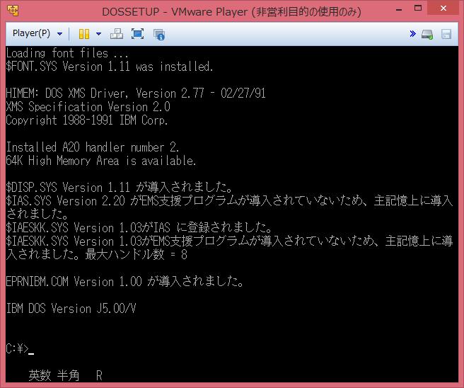 Image: IBM DOS J5.02/V boot-up screen - VMP6