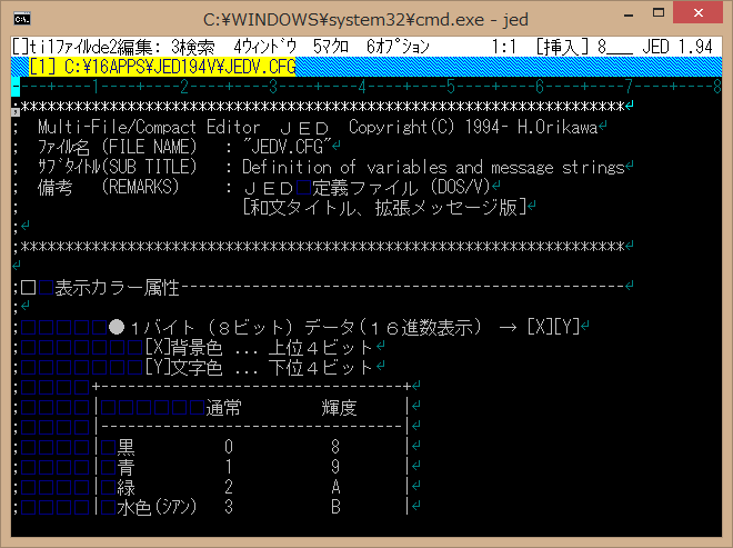 Image: JED text editor on codepage 932