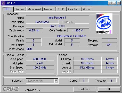 Image: Pentium II - CPU-Z