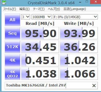 Image: 東芝 MK1676GSX / CrystalDiskMark 3.0.2 x64