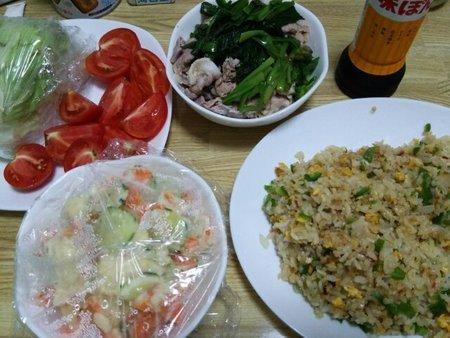 Image: 140803 チャーハン/ニラと豚肉のポン酢和え [cook]