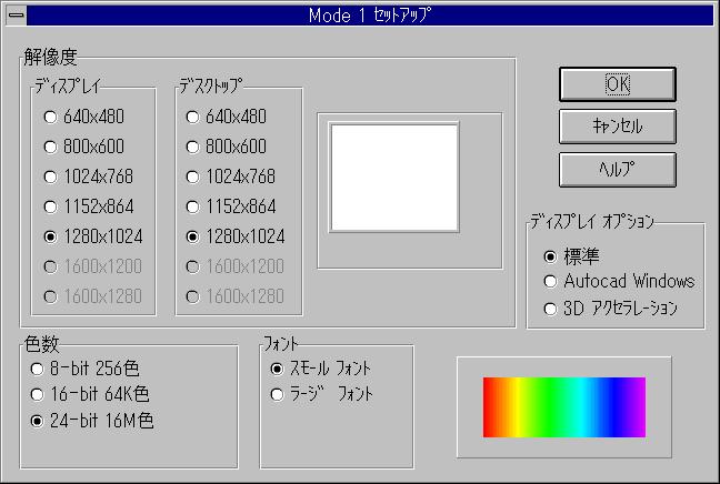 MGAコントロールパネル Mode 1 セットアップ