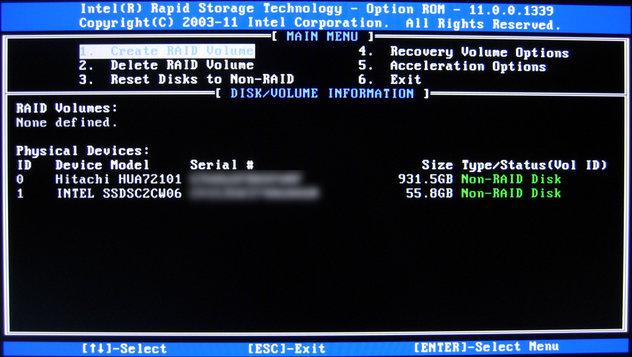 Image: IRST Option ROM画面からRAIDを設定する
