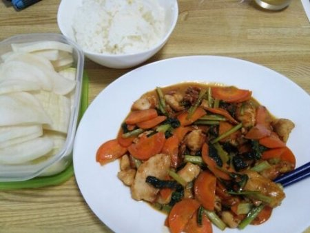 Image: 140902 鶏むね肉と小松菜の味噌マヨ炒め [cook]