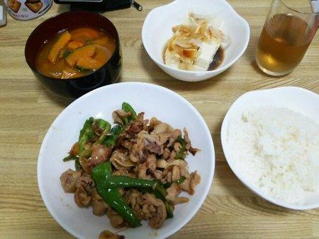 Image: 140801 豚肉とししとう炒め/かぼちゃ味噌スープ [cook]