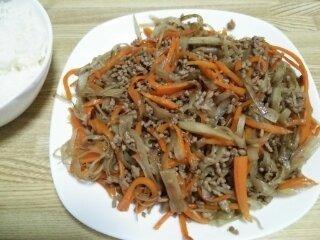 Image: 140909 挽き肉入りきんぴらごぼう [cook]