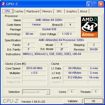 Image: Get CPU(AMD Athlon 64 3200+) information by CPU-Z