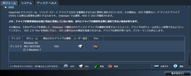 詳細設定(SSDボリューム) - Diskeeper 2012