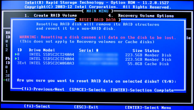 Image: Intel Rapid Storage Technology Option ROM - Reset RAID Data