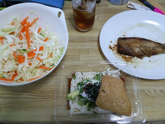 Image: 140728 月見うどん、サバ生姜漬け、キャベツサラダ [cook]