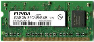 200pin S.O.DIMM DDR2-667 512MB(ELPIDA PC2-5300S-555)