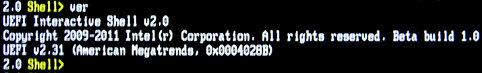 Image: マザーボードのUEFI規格のバージョンを調べる [EFI Shell]