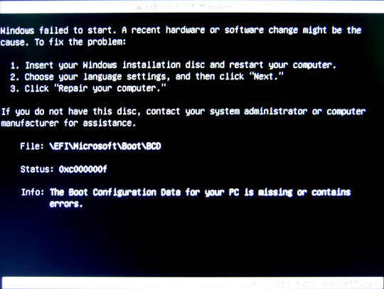 Windows boot manager : Failed to start.