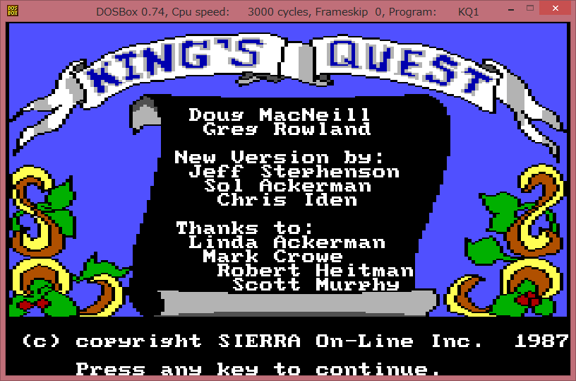 Image: overlay - DOSBox 0.74 KQ1