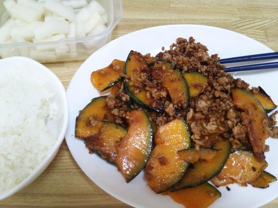 Image: 140911 合挽き肉とカボチャの甘辛炒め [cook]