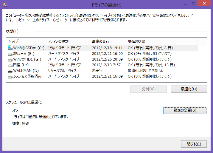 Image: Windows 8のデフラグツールを使って手動でTrimを実行 [Win8]
