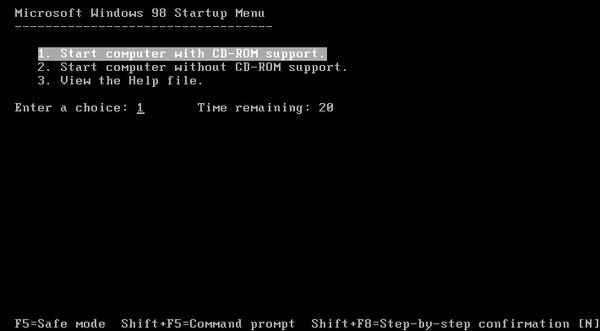 Image: Microsoft Windows 98 Startup Menu