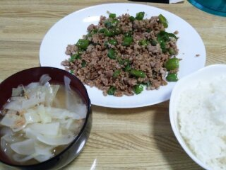 Image: 140824 獅子唐と合挽き肉のにんにく炒め [cook]